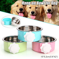 15cm Hang-on Bowl For Pet Dog Cat Crate Cage Food Water Bowl Stainless Steel