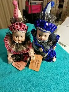 "Lot Of 2 Vintage SHOW STOPPERS Porcelain JESTER 8"" Dolls"