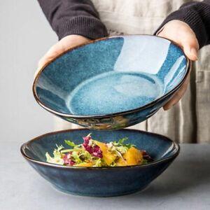 Retro Ceramic Deep Salad Bowl Large Ramen Noodle Soup Japanese Home Serving Dish