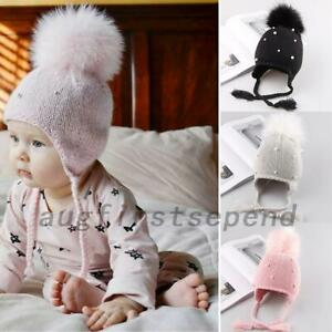 Baby Girls Kids Pearl Braid Beanie Hat Winter Warm Knit Fur Pom Bobble Cap