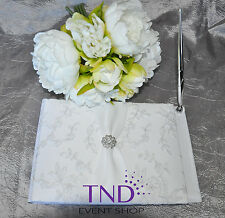 GUEST BOOK AND PEN SET WITH FLORAL PATTERN & RHINESTONE FLOWER BY VICTORIA LYNN