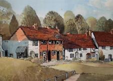 Quaint English Village Inscribed Verso Kenilworth Watercolour Ian Jones 1975