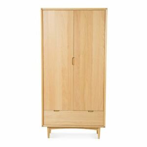 JAKOB RETRO SCANDINAVIAN WOODEN OAK DOUBLE WARDROBE