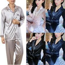 Womens Mens Silk Satin Pajama Sets Couples Long Sleeve Sleepwear Homewear Robes
