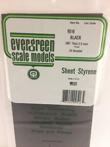 Evergreen EV9516 Polystyrène Noir 15x30cm Spess. 1,5mm Modélisme