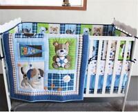 Sports Puppy Baby Crib Cot Bedding Quilt Bumper Sheet Dust Ruffle Set of 4pcs A