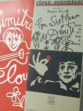 Plaquette de présentation du clown Dimitri Vieux Colombier 60's dédicace