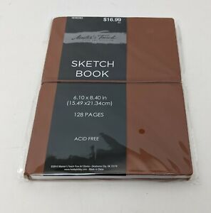 """Faux Brown Leather Sketch Book 6.10 x 8.40"""" (15.49x21.34cm) Soft Cover Journal"""