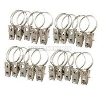 20Pcs Stainless Steel Window Shower Curtain Rod Clips Rings Drapery Clips Set