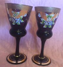 Bohemian/czech Set 6pcs Bohemian Violet Amethyst Glass Brandy Snifters Hand-painted 7.33 Fl.oz
