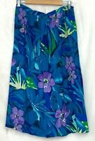 Alfred Dunner Womens Maxi Skirt Blue Floral Petite Size 16 Vintage