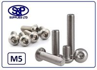 M5 - 5mm STAINLESS SOCKET BUTTON SCREW HEAD DOME BOLT FROM 6MM TO 60MM LONG A2