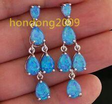Amazing Natural Blue Fire Opal  dangle  925 silver earrings HD3201