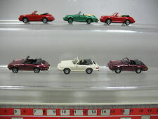 af133-0,5 #6x WIKING H0 AUTOVETTURA PORSCHE Cabriolet/CABRIO: Carrera 4+911 C