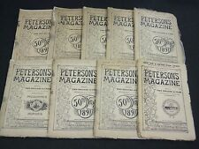 1891-1892 PETERSON'S MAGAZINE LOT OF 9 ISSUES - GREAT FOLD OUTS - WR 591D