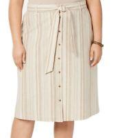 Bar III Womens Skirt Beige Size 24W Plus Striped Button-Front Tie-Waist $89 286