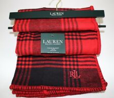 Nwt Ralph Lauren 54x72 Red Black Buffalo Plaid Washable Throw Blanket