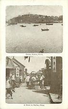 Vintage Postcard China Multiview Chefoo Harbor and Street Scene Yantai