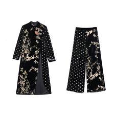 Womens Gold Velvet Floral Long Dress Ladies Suits Wide Legs Trousers Pants 2pcs