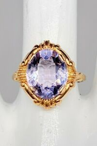 Antique 1920s Etruscan 5ct Natural Amethyst 10k Yellow Gold Ring