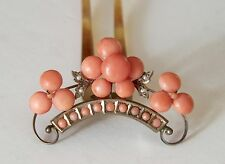 Antique Victorian Pink Salmon Coral Hinged Hairpin Hair Comb Cabochons Pearls