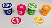 Wooden Yoghurt Pots Children Imaginary Play Toys Kitchen Food