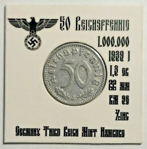 💰 1939 J Germany 50 Reichspfennig Third Reich Germany WWII #222