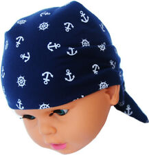 Kopftuch Baby Kinder Sommer Mütze Blau Anker Mützchen Kopfbedeckung Bandana UNI