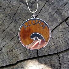 Hawaii Jewelry Koa Wood Circle Aloha Wave Silver Rhodium Plated Pendant BRP1009