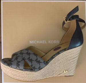 Women MK Michael Kors Eleanora Wedge Buckle Up Espadrille Sandals MK Logo 8.5