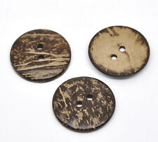20 Brown Natural Coconut Buttons Round Sewing 38mm Scrapbooking Crafts Clothing