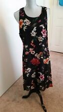 Karen Kane Black Floral Print Hi-Low Dress Women's Size L  Pre Owned Worn Once