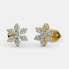 14k Yellow Gold Natural Round Cut Diamond Wedding Anniversary Stud Earrings
