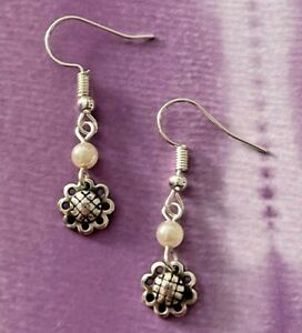 Brighton Flower Quilted Pansy Daisy Floral Ivory Pearl Beads Custom Earrings