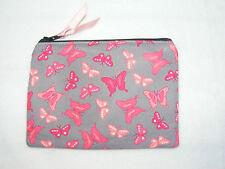 Butterfly Pink & Grey Fabric Handmade Coin Purse