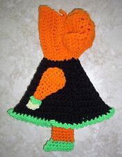 SUNBONNET SUE POTHOLDER DOLL, Crochet, HALLOWEEN COLORS, Handcrafted, NEW