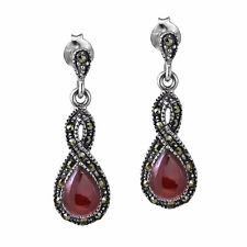 Infinity Twirl Red Resin and Marcasite .925 Silver Earrings