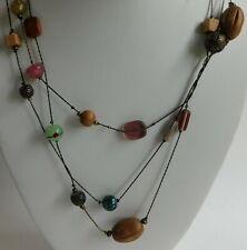 "Lia Sophia Multi Strand Wood Glass Beaded Necklace Pink & Green 27"""
