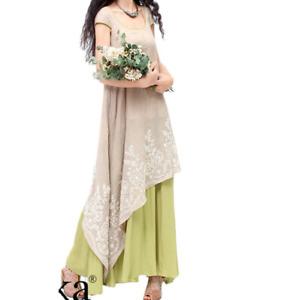Women Sundress Summer Short Sleeve Asymmetrical Long Maxi Embroidered Dress