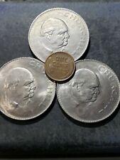 3 1965 Great Britain Uk Winston Churchill 1 Crown Commemorative Coins #54355