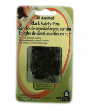 2/pk Black Assorted 40 Safety Pins w/ Reusable storage Case Includes 3 Sizes