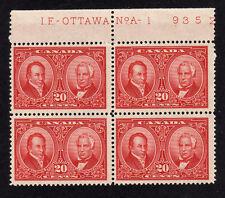 CANADA 1927 20c CARMINE PLATE No 1 BLOCK OF FOUR SG 273 MNH.
