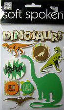 New 9 pc Dinosaurs Meat Plant Eater Brontosaurus Soft Spoken Mambi 3D Stickers