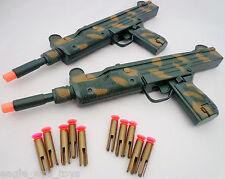 2X Toy Machine Guns Military Dual HUGE UZI Machine Gun Dart Toy Set