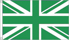 GREEN and WHITE UNION JACK FLAG 5' x 3' Flags Eco Earth Day Sports Team Club