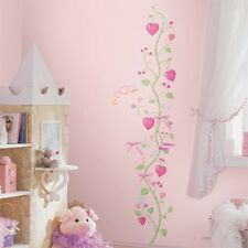 PRINCESS HEART VINE GROWTH CHART WALL DECALS Girls Pink Hearts Stickers Decor