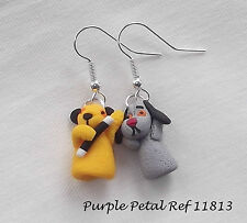 Unusual Handmade Novelty Fun Fimo Sooty & Sweep Puppet Charm - Earrings - Gift