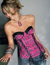 NEU: SEXY CORSAGE mit SATIN + SCHNÜRUNG pink 32 34 36 38 40 42 MELROSE *530374