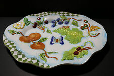 "INCREDIBLE large ZRIKE Co. porcelain serving platter w/fruit, butterfly+ 16""x13"""
