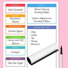 Magnetic Meal Planner Memo Board Whiteboard Fridge A4 Dry Wipe Home Prep Diet